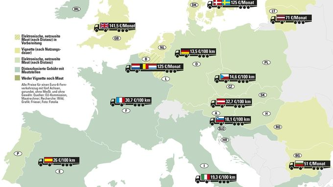 Europa, Maut, Karte, Lkw