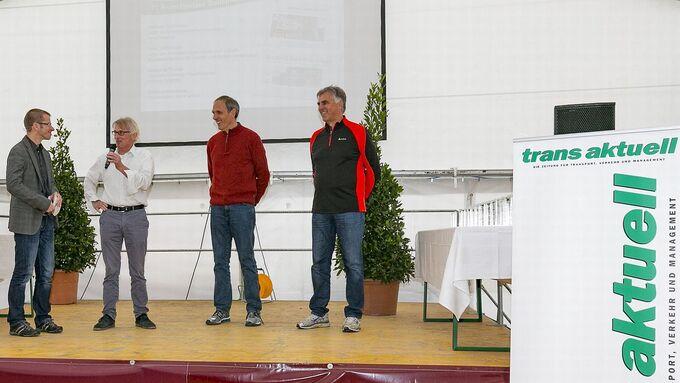trans aktuell läuft, 11. Auflage, bei Ansorge Logistik, Diskussionsrunde, Matthias Rathmann, Manfred Kuchlmayr, Peter Lüttjohann und Wolfgang Thoma (v.l.)