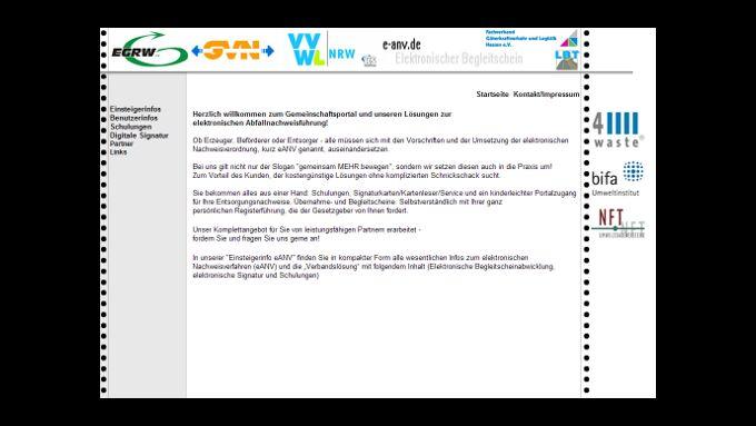 Abfallnachweisverfahren per Internet