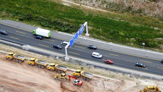 Autobahn, Baustelle, Luftbild