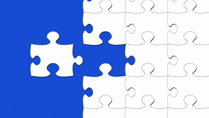 Puzzle, blau, weiß